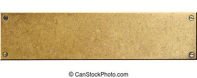 plaque, boulons, vis, métal, isolé, quatre, bronze
