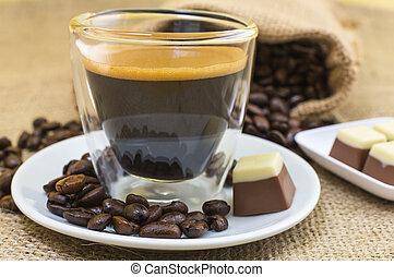 plaque, café, pralines, express, crema, frais