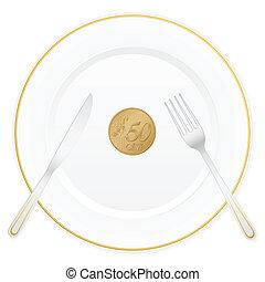 plaque, cinquante, cent, euro