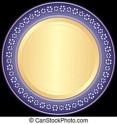 plaque décorative, violet-golden