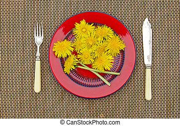 plaque, fleur, pissenlit, nourriture, jaune, frais, rouges
