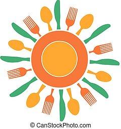 plaque, fourchette, soleil, organisé, jaune, couteau, aimer