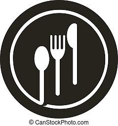 plaque, fourchette, sommet, il, cuillère, couteau