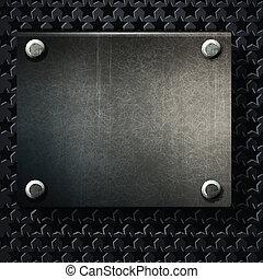 plaque, grunge, métal, vecteur, fond, vis