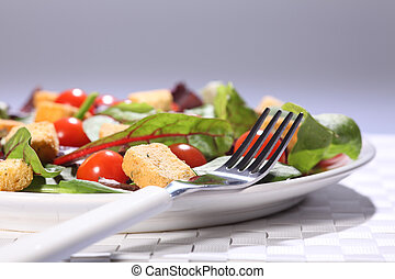 plaque, nourriture salade, déjeuner, santé, table, vert