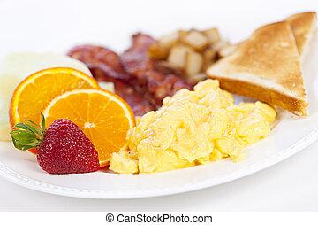 plaque, petit déjeuner