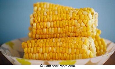 plaque, peu, bouilli, têtes, maïs