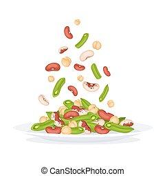 plaque, salade, illustration