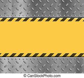 plaque, signe., métal, jaune, avertissement, textured, raies