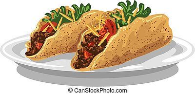 plaque, tacos