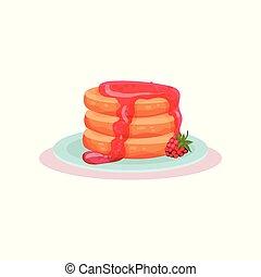 plaque, vecteur, framboise, plat, crêpes, recette, dessert., nourriture., livre, savoureux, délicieux, menu, frais, jam., café, doux, ou
