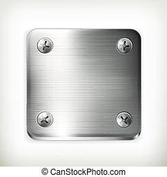 plaque, vecteur, métal, vis