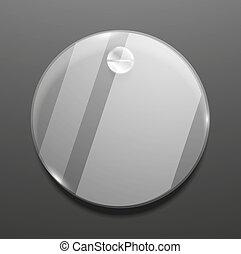 plaque, verre, vecteur, fond, rond, vide