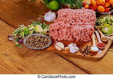 plaque, viande, boeuf, cru, frais, haché, terrestre