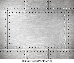 plaques, métal, rivets, fond