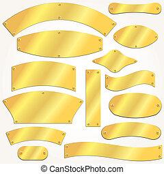 plaques, vecteur, ensemble, signboards, or