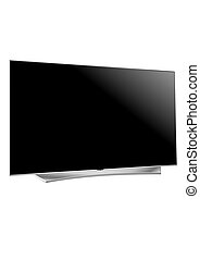 plasma, plat, écran tv, réaliste, lcd, vecteur, illustration.