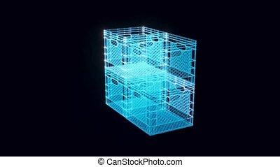 plastique, boîte, hologramme, tourner