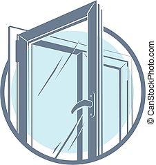 plastique, fenêtre, vecteur, icône