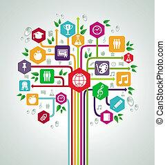 plat, école, réseau, icônes, dos, arbre., education