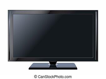 plat, écran tv, illustration, réaliste, lcd, vecteur, plasma