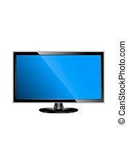 plat, écran tv, illustration, réaliste, vecteur, lcd, plasma