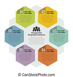 plat, élément, infographic, hexagone