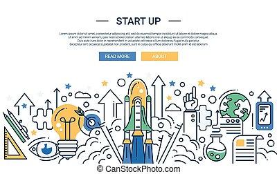 plat, éléments, site., lancement, moderne, haut, en-tête, composition, scene., début, conception, illustration, infographics, navette, ligne, bannière, ton