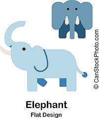 plat, éléphant, icône