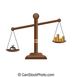 plat, équilibre, or, balances, justice, argent, pièces, symbole., balance, conception, icon., droit & loi