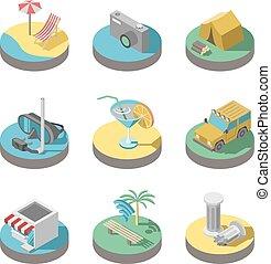 plat, été, set., icônes, vacances, vecteur, 3d