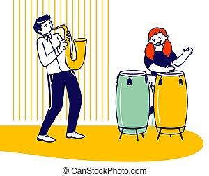 plat, étape, formation, batteur, avant, exam., vecteur, saxophone, jazz, jouer, musical, étude, girl, garçon école, illustration, dessin animé, composition, artistes, joueur, enfants, performance, ou, doué