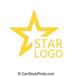 plat, étoile jaune, icône, résumé, unique, vecteur, logo