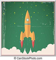plat, étoiles, fusée, illustration espace, début, vecteur, conception, retro, fond
