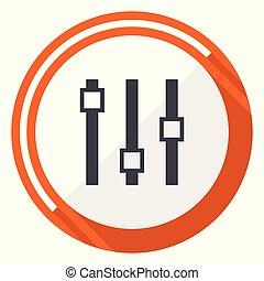 plat, 10, eps, glisseur, vecteur, conception, orange, rond, icône