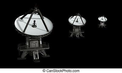 plat, 4., satellite, animation, isoler