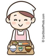 plat, a, cuisinier, jeune femme