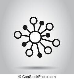 plat, adn, réseau, moyeu, concept., molécule, isolé, illustration, signe, business, arrière-plan., connexion, vecteur, atome, style., icône