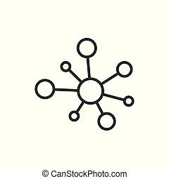 plat, adn, réseau, moyeu, concept., molécule, isolé, illustration, signe, business, arrière-plan., connexion, vecteur, atome, blanc, style., icône
