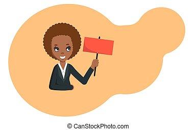 plat, affaires femme, copyspace., vide, illustration, signe, américain, vecteur, tenue, africaine, board.