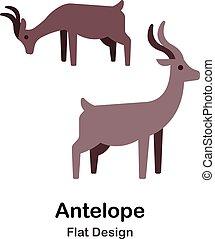 plat, antilope, icône