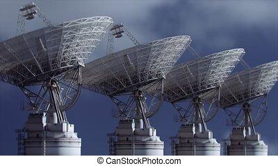 plat, array., animation., radio, satellite, 3d