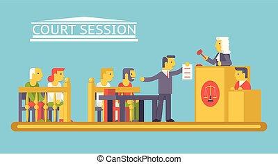 plat, avocat, tribunal, caractères, ludge, justice, moderne, scène, illustration, vecteur, conception, avocat, branché, droit & loi, défendeur, gabarit