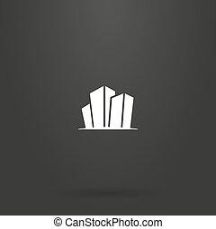 plat, bâtiments, art, haut-ascension, trois, signe, dessin animé