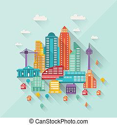 plat, bâtiments, illustration, conception, cityscape, style.