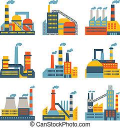 plat, bâtiments, industriel, icônes, usine, mettez stylique, style.