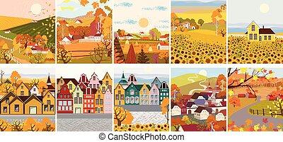 plat, bâtiments, ville, tournesol, dessin animé, vieux, village, meute