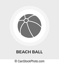 plat, balle, plage, icône