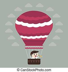 plat, balloon, air, chaud, conception, homme affaires