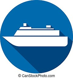 plat, bateau, icône